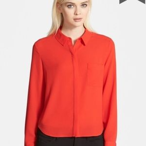 Trouve Red Silky Button Down Shirt